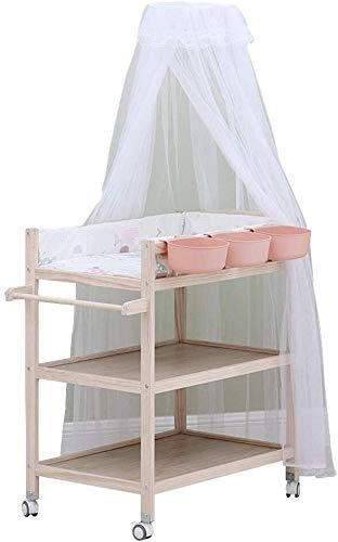 Commode Commode Dresser Unit met Klamboe & Storage Box, Heavy Duty Wood Diaper Station op Wielen Baby wieg