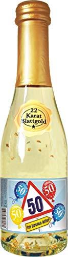AV Andrea Verlag Zum 50. Geburtstag Piccolo mit 22 Karat Blattgold Gold Goldsekt Secco für Frauen als Geburtstagsgeschenk (Piccolo Blattgold 50)