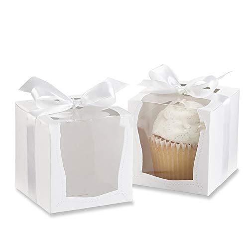 Kitchen-dream Cake Boxes-Pappe White Lock Corner Window Bäckerei Box, Einweg-Kuchenbehälter, Dessert-Boxen für Kuchen Candy Treat Holiday Party Geburtstag-3.5 * 3.5 * 3.5Inch