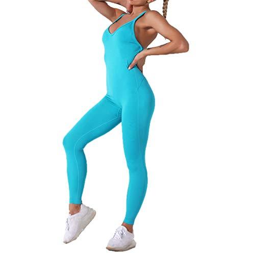 Mujer Mallas Leggins Top Conjuntos, Atractivo de una pieza de la yoga de las mujeres del mono de polainas sin espalda bodycon del vendaje Romper Butt Lift Pantalones largos de entrenamiento Playsuit j