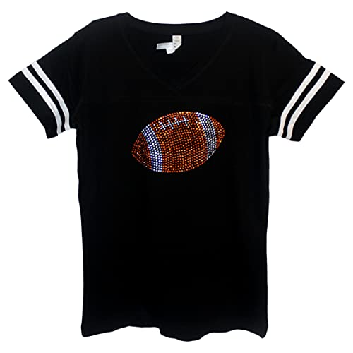 FanGarb Womens/Girls Bedazzled Orange Football on a Black...