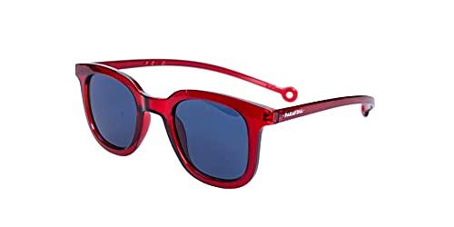 PARAFINA Cauce Gafas de Sol para Mujer y Hombre, Protección UV400, Gafas Eco-Friendly Polarizadas, Resistentes al Agua y Ultra Ligeras, Montura Eco-friendly color Rojo Volcano y Lentes Azules