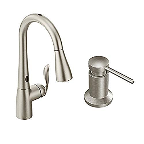 Moen 7594ESRS Arbor Motionsense Two-Sensor Touchless One-Handle Pulldown Kitchen Faucet Featuring Power Clean, Spot Resist Stainless AND Deck Mounted Kitchen Soap Dispenser