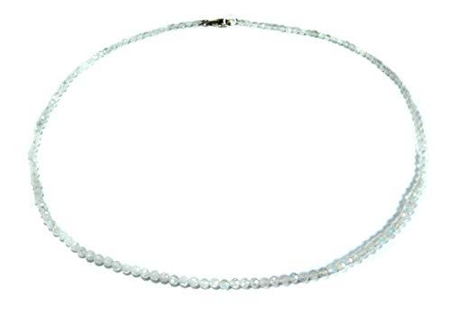 Damen Edelsteinkette Halskette aus Mondstein in facettierter Kugelform Ø-3 mm 925er Silber Verschluss