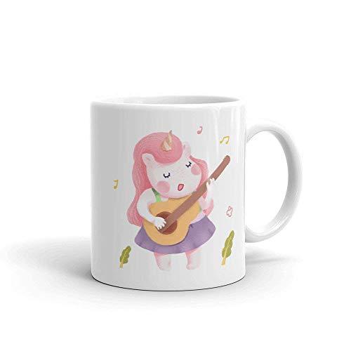 N\A Taza de Unicornio Linda Diseño de Unicornio Taza de café Divertida Idea de Regalo de Unicornio Taza de fantasía Taza de Unicornio Música Unicornio Unicornio Guitarra Taza mágica