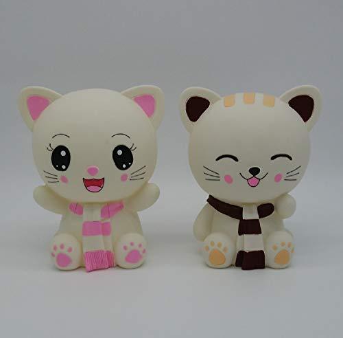 猫の貯金箱 かわいい 子猫の大きな貯金箱 ソフビ (男の子と女の子)