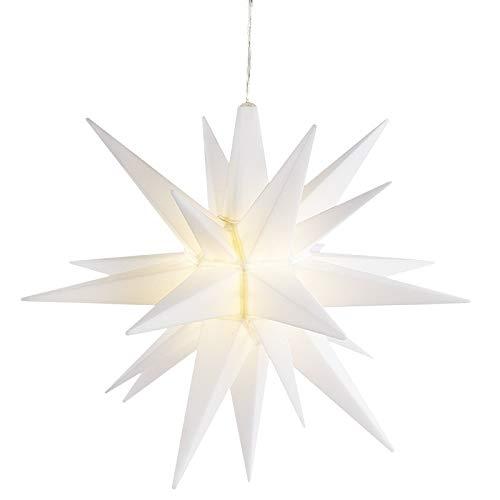 3-D LED-Stern | Ø 30 cm | Batteriebetrieben | Zum Zusammenstecken | 2 m Kabellänge | warmweiß | Inkl. Timer (6 Stunden AN | 18 Stunden AUS) | Beleuchteter Stern als Fenster-Deko für Weihnachten