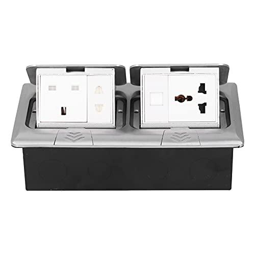 Receptáculo de Tomacorriente a Prueba de Agua Caja de Acero Inoxidable Multifunción Oculta Aleación de Aluminio Plateado Cargadores USB Estándar del Reino Unido Piso Emergente
