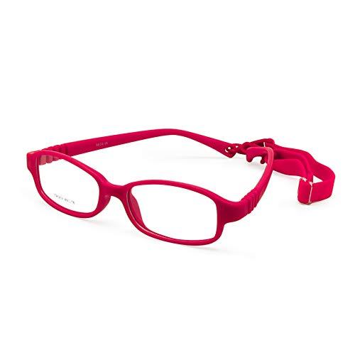 EnzoDate Marco de gafas ópticas para niños con correa de tamaño 49-16, sin tornillos Gafas para niñas y niños flexibles, gafas para niños de una pieza con cordón