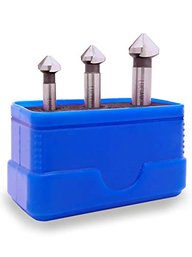LUCIAMO ® 3 tlg. 90° Profi Senker Set HSS 4241 - für Holz, Metall und Kunststoff - ein Muss für jeden Werkzeugkasten!