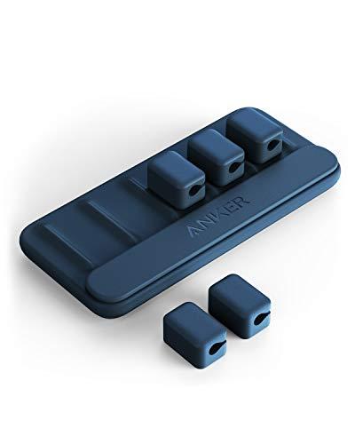 Anker Kabel Management, magnetische Kabelhalterung, Desktop Kabelbinder, 5 Clips für Lightning-Kabel, USB-C Kabel, Mikro Kabel, Klebt auf Holz, Marmor, Metall und Glas (in Blau)