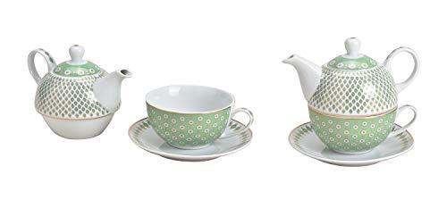 Tea for One Set Retro Design in hellgrün (Kanne, Tasse, Untertasse)
