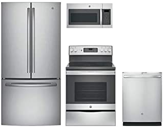 """GE Stainless Steel Package with GNE25JSKSS 33"""" French Door Refrigerator, JB655SKSS 30"""" Freestanding Electric Range, JVM617..."""