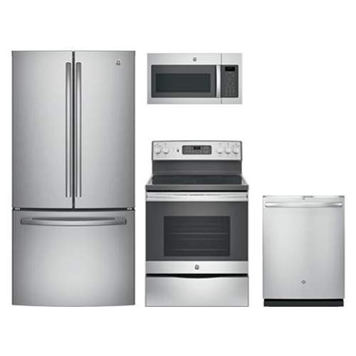 """GE Stainless Steel Package with GNE25JSKSS 33"""" French Door Refrigerator, JB655SKSS 30"""" Freestanding Electric Range, JVM6175SKSS 30"""" Over the Rage Micorwave Oven, GDT655SSJSS 24"""" Built In Dishwasher"""