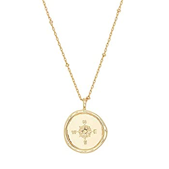gorjana Women s Compass Coin Pendant Adjustable Necklace 18K Gold Plated Medallion 19 inch Chain