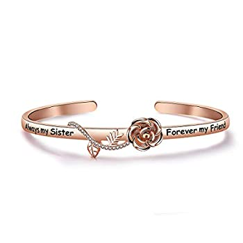 Best Friend Bracelet Sister Gift Always My Sister Forever My Friend Cuff Bracelet with Rose Flower Gift for Sisters Friendship Jewelry  Gold