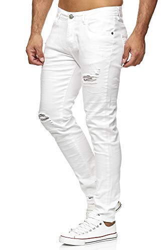Red Bridge Herren Jeans Hose Slim-Fit Röhrenjeans Denim Destroyed M4235 Weiß W30L34