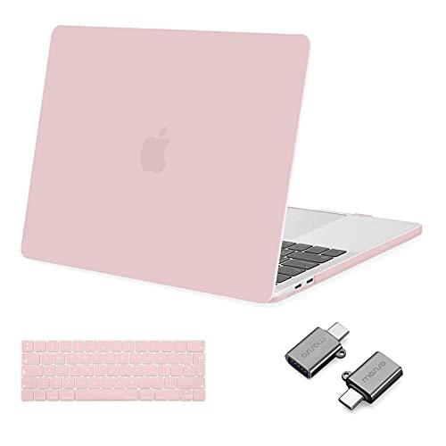 MOSISO Case Compatibile con MacBook PRO 13 Pollici 2016-2020 Uscita A2338 M1 A2289 A2251 A2159 A1989 A1706 A1708, Custodia Rigida in Plastica&Tastiera Cover&Tipo C Adapter, Quarzo Rosa
