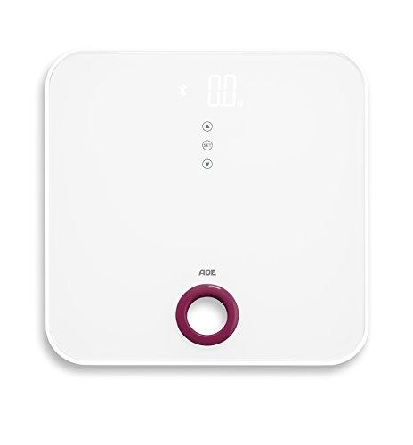 ADE Báscula de baño digital BE1616 FITvigo. Electrónica con excelente App. gratuita. Obtenga peso exacto de hasta 180 Kg indice de masa IMC. Bluetooth. Incluye baterías. Color Blanco y Rosa