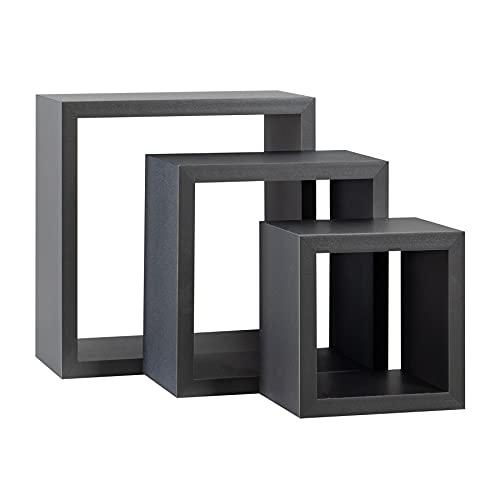 Estantes flotantes cuadrados Estantería - 3 tamaños - Gris - 3 unidades