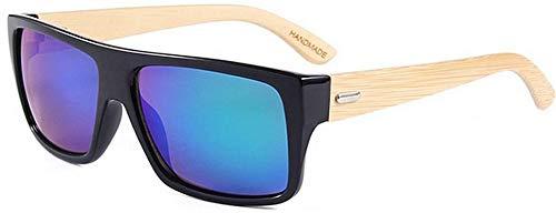 Superlight Unisex zonnebril, gepolariseerd, Flat Top Kleur van de lens Unisex Bamboe UV-bescherming handgemaakt voor mannen vrouwen (kleur: groen)