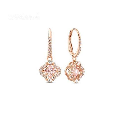 ZHENAO Pendientes Hechos a Mano Latiendo Corazón Rosa Diamante Artificial Aretes de Trébol de Cuatro Hojas Pendientes de Navidad para Compras, Fiestas Y Viajes Exquisito/Oro rosa