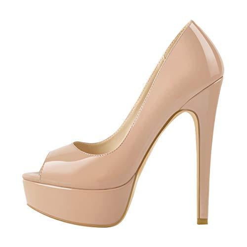 MissHeel Damen Plateau Peeptoe Pumps Elegante Stiletto High Heels mit Lack Optik für Büro Party Baby Pink 42 EU