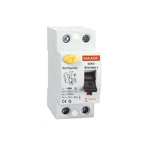Diferencial Industrial MAXGE 63A 2P 30mA Monofásico Clase AC 6kA