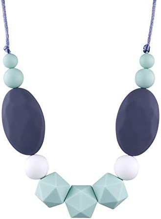 TUXEPOC Nursing Necklace for mom to wear Silicone Feeding teether Safe chew Beads for Babies product image