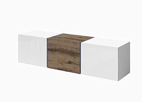 Domtech Wandmeubel voor tv-meubel, hangend, met ledverlichting, 140 cm, hoogglans, donker eiken, lowboard, gaming tafel, hangplank, hoogglans wandkast