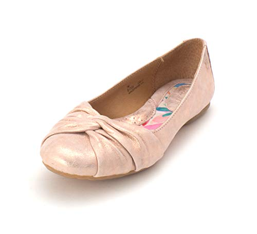 Price comparison product image BORN Womens Lilly Leather Round Toe Ballet Flats,  Light Pink,  Size 8.5