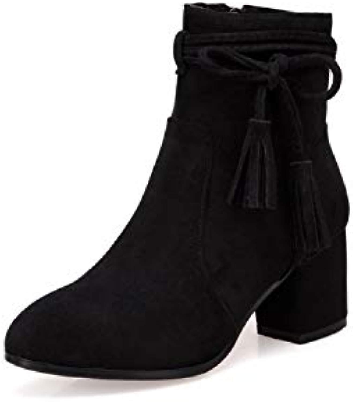 Pumps Martin-Schnürstiefel aus aus dickem, hochhackigem Leder mit Schnürschleife, schwarz, 39