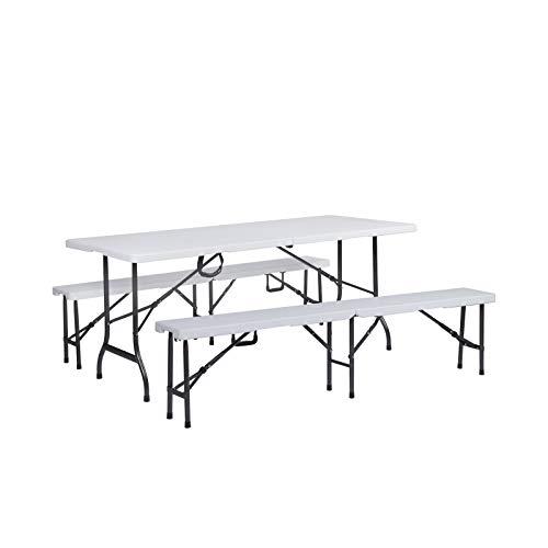 SVITA Bierzeltgarnitur Gartenmöbel Set Klapptisch Klappbank Campingtisch Campingbänke Buffettisch Sitzbank klappbar tragbar weiß