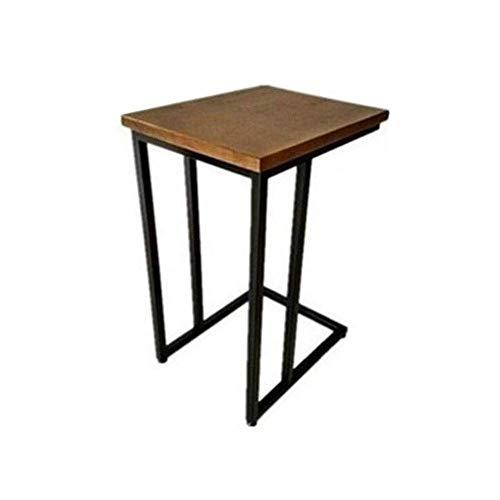 Sofá Snack de madera moderna mesa auxiliar de café portátil sobrecama escritorio base metal superior madera H60/65/70cm, 40x32x60cm