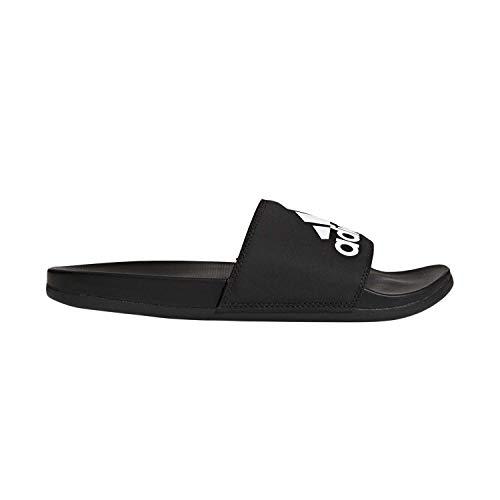 adidas Men's Adilette Comfort Slide Sandal, Black/Black/White, 10 M US