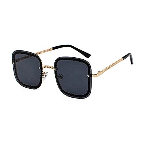 WANGZX Gafas De Sol Unisex Sin Marco Gafas De Sol Cuadradas De Moda para Mujer Gafas De Sol De Gran Tamaño para Mujer Gafas De Sol para Mujer C1Gold-Black