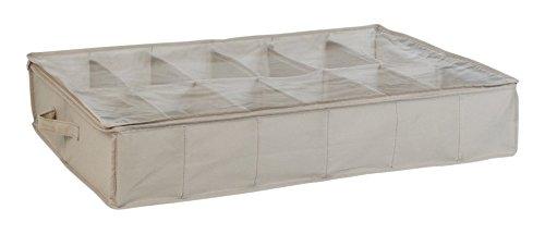 House Box HOUSRA007 Housse de Rangement pour Chaussures de 12 Paires avec Fenêtre Synthétique Beige/Transparente 75 x 60 x 15 cm
