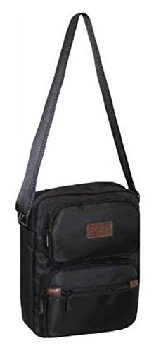 Men's JCB Multi Zip Messenger Bag Waterproof Cross Body Shoulder Utility Travel (Black)