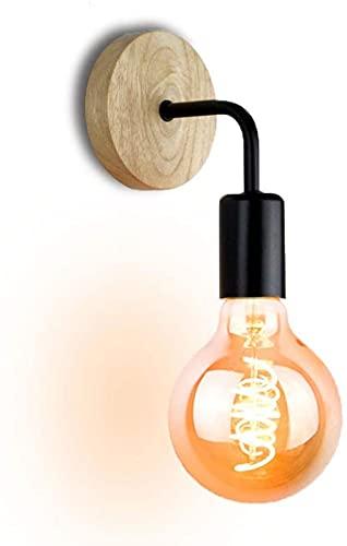 Aplique de Pared Vintage Lámpara de Pared de Madera Maciza E27 Socket Candelabro Moldura Diseño Industrial Rústico Retro Accesorios de iluminación de Pared