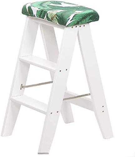 MHBGX Habitación de Paso de Provete de Dual de Propósito de Casa Al Aire Libre, Banco Hable de Cocina Climb Creativo Step Ladder Atica Oficina Silla de Escalera con un Cojín Extraíble para Adultos, A