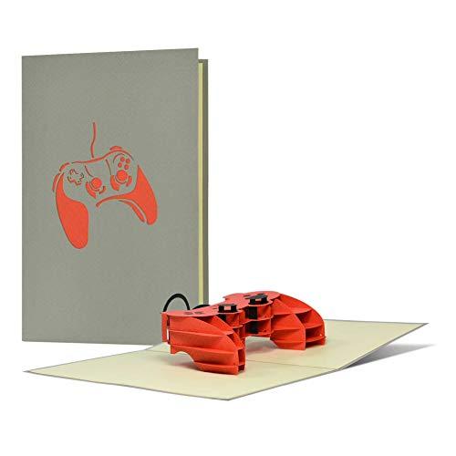 Tarjeta de felicitación de cumpleaños para niños para Playstation o juegos de ordenador 3D Pop-Up, tarjeta de felicitación o regalo de cumpleaños para jóvenes, H25
