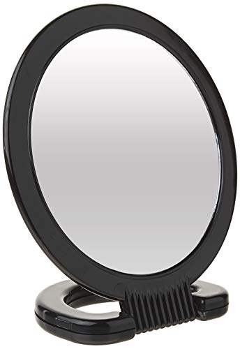 """Diane Plastic Handheld Mirror – Magnifying 2-Sided Vanity Mirror with Folding Circle Handle and Stand for Hanging – Medium Size, 6""""x 10"""" for Travel, Bathroom, Desk, Makeup, Beauty, Grooming, D1014"""