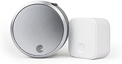 August Home ASL-03, AC-R1 Smart Lock Pro + Connect Wi-Fi Bridge Bundle, 100, Silver