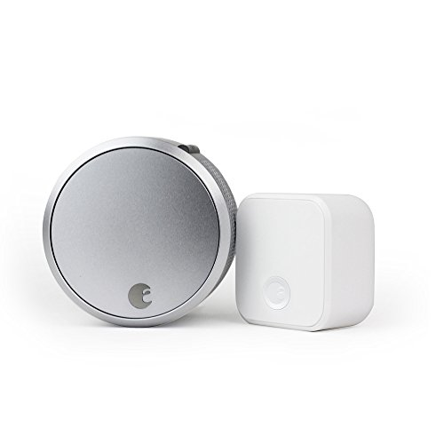 August Smart Lock Pro + Connect Wi-Fi Bridge, 3rd gen technology - Silver, works with Alexa, HomeKit...