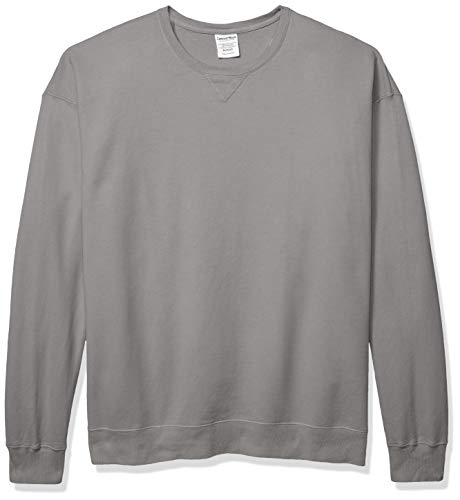 Hanes Men's ComfortWash Garment Dyed Fleece Sweatshirt, Concrete Gray, X Large
