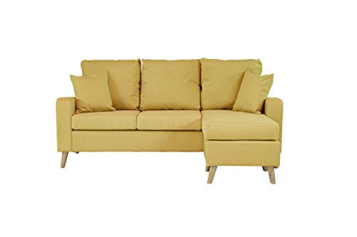 Divano Roma Furniture Middle Century Modern Linen Fabric Small Space Sectional Sofa with Reversible Chaise (Yellow)