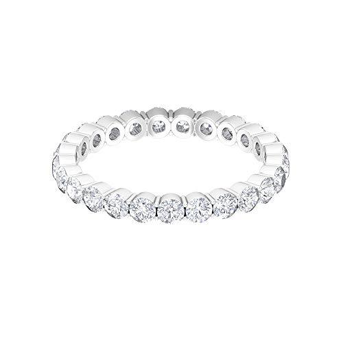 Anillo de eternidad flotante, anillo de diamante redondo HI-SI de 1,6 quilates, anillo de boda, anillo apilable de novia, delicado anillo de dama de honor, 14K Oro blanco, Diamante, Size:EU 53