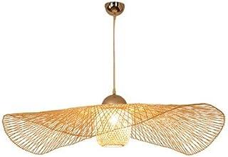 Wylolik Nuevo chino tropical araña de bambú araña rústica sombrero de paja forma chandeliers globo lámpara de lámpara tejido de ratán luz de techo isla colgante lámpara restaurante luces colgantes e27