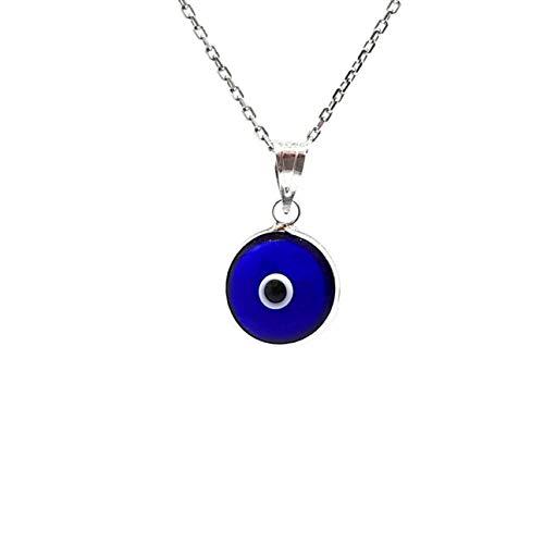 MYSTIC JEWELS by Dalia - Collar mal de ojo de cristal azul para la buena suerte - plata de ley 925 - - Cadena 40 a 45 cm Longitud, para regalar por protección para mal de ojo(Azul Fuerte Transparente)