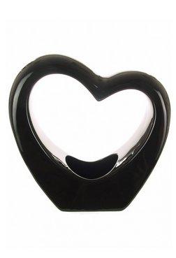 Homestreet Vases - Vaso in porcellana a forma di cuore, grande, colore: Bianco o Nero nero